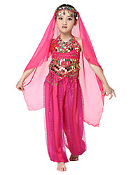 Dancewear Chiffon with Coins Belly Dance Outfits Top and Bottoms and Scarf For Children More Colors