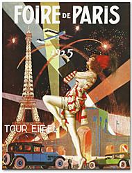 Gedrukt op doek Vintage Foire de Paris door Vintage Apple Collection met gestrekte frame