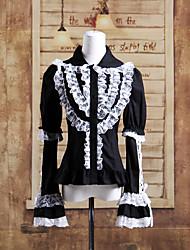 Long Sleeve Black Cotton White Lace Aristocrat Gothic Lolita Bluse