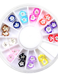 24PCS Ceramic Flowers Rhinestone Nail Art Decorations 12 Color