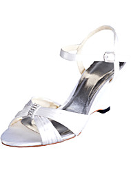 Gorgeous Satin Wedge Heel Ruched Sandals With Rhinestone And Buckle Wedding Shoes(More Colors)