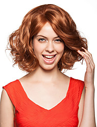 Hand Tied Style Lace Front Medium Length Synthetic Golden Brown Curly Hair Wigs