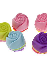 rosa em forma de mini-silicone colorido molde queque (20pcs)