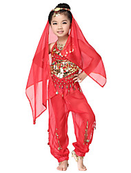 Dancewear Chiffon with Coins Belly Dance Outfits Top and Bottom and Scarf For Children More Colors