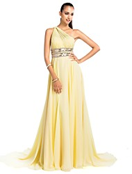 TS Couture® Prom / Formal Evening / Military Ball Dress - Open Back Plus Size / Petite Sheath / Column One Shoulder Court Train Chiffon