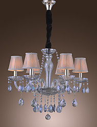 Classic Chandelier with 6 Lights Crystal Pendants 6 Silver Stripe Fabric Shades