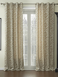 (One Pair) Jacquard Floral Barocco Cotton Polyester Blend Energy Saving Curtain