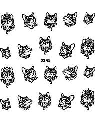 4pcs Black Water Transfer Printing Nail Stickers Cartoon