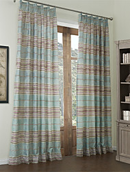 (Dois painéis) de algodão mediterrâneo jacquard tarja cortina de economia de energia