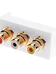 Three RCA Component Two-Piece Inset Wall Plate (RGB) - Coupler Type (Gold Plated)