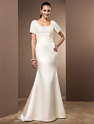 Mermaid / Trumpet Scoop Court Train Lace Satin Wedding Dress with Pearl Ruche by LAN TING BRIDE®