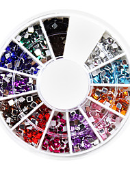 1200PCS Square-shaped Rhinestones Nail Art Decorations (2.0mm,12 color)