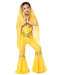 Dancewear Lovely Chiffon Belly Dance Outfits Top and Bottom and Scarf For Children More Colors