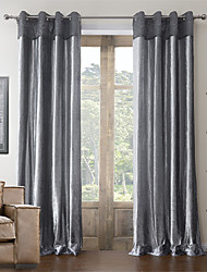 (Two Panels) Cotton Neoclassical Polyester Blend Energy Saving Curtain