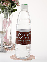 Personalized Water Bottle Sticker - Love (Brown Blue/Set of 15)