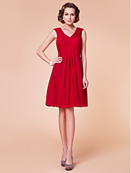 Lanting Sheath/Column Plus Sizes / Petite Mother of the Bride Dress - Ruby Knee-length Sleeveless Chiffon