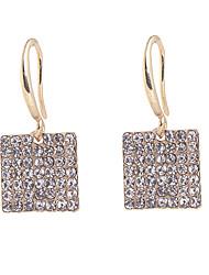 Eleganti Shiny orecchini quadrati pieno di diamanti