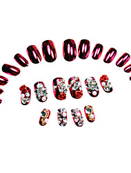 24Pcs Red Rose Rhinestone Studded Nail Tips Red With Glue