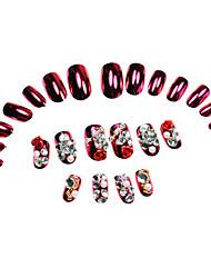 Rose 24pcs Red Rhinestone Dicas unhas vermelhas enchidas com cola