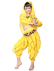 Belly Dance Outfits Children's Performance Chiffon Draped / Sequins 3 Pieces Natural Top / Pants / Headpieces
