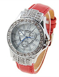 Women's PU Quartz Movement Glass Round Watch(More Colors)