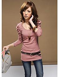 Bodycon manga larga plisada de las mujeres T-shirts