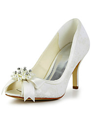 Women's Spring Summer Fall Satin Stretch Satin Wedding Stiletto Heel Bowknot Imitation Pearl Black Ivory White