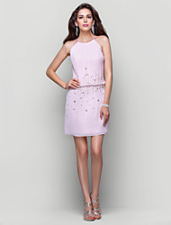 Cocktail Party / Homecoming Dress - Blushing Pink Plus Sizes / Petite A-line / Princess High Neck Short/Mini Chiffon