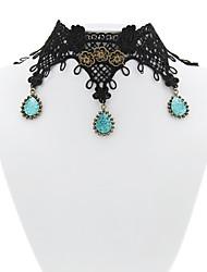 Handmade Black Guipure Lace Jewelry Pendants Gothic Lolita Choker Necklace