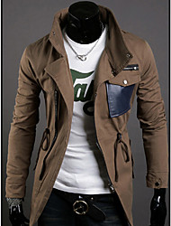 Men's PU Leather Cable-stayed Stand Collar Jacket