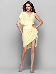 Homecoming Cocktail Party/Homecoming Dress - Daffodil Plus Sizes Sheath/Column V-neck Asymmetrical/Short/Mini Chiffon