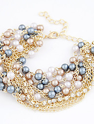 Gold Plated Alloy Multi-row Pearl Connected Bracelet