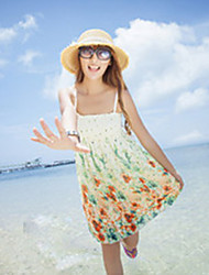 Women's Beach Dress,Print Above Knee Sleeveless Multi-color Summer