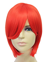 Capless Synthetic Fiber Short Red Straight Hair Wigs
