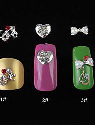 5PCS enchido diamante Nail Art Alloy Detalhes 1cm (cores sortidas)