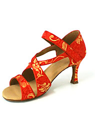 Customized Women's Silk Upper Dance Shoes With Buckle
