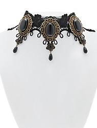 Handmade Black Lace vitoriano clássico Lolita Choker Necklace