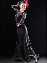 Ballroom Dance Dresses Women's Training Lace / Viscose Black Latin Dance / Ballroom Spring, Fall, Winter, Summer Natural