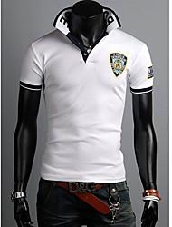 Hombres collar del soporte Cartas bordado Polo T-Shirt
