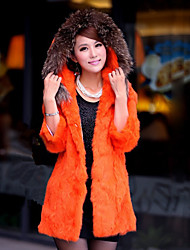 3/4 Sleeve  Raccoon Fur Hood Rabbit Fur Casual/Party Coat (More Colors)
