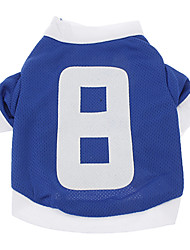 Dog Shirt / T-Shirt / Jersey Blue Dog Clothes Summer Letter & Number