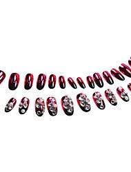 Rhinestone 24pcs enchido prego Dicas Gradient Red com cola