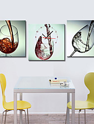 Modern Style Wine-glass Wall Clock in Canvas 3pcs
