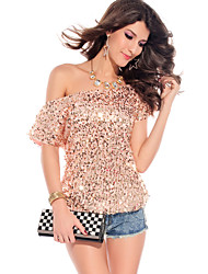 Women's Solid Gold T-shirt , Slash Neck Short Sleeve Sequins