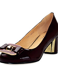 Fashion Patent Leather Chunky Heel Pumps with Bowknot Office/Party Shoes(More Colors)