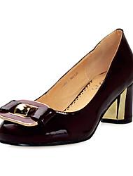 Moda couro envernizado bombas salto robusto com bowknot Escritório / Partido Shoes (mais cores)