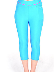 Sky Blue und Brown Spandex Nylon Übung Capri Pants