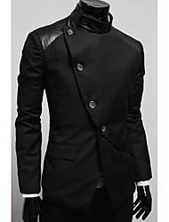 Herren Jacke Einfarbig Freizeit PU / Baumwollmischung Lang-Schwarz / Grau