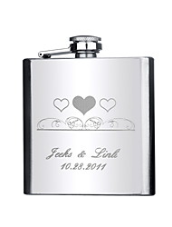 Gift Groomsman Personalized Stainless Steel 6-oz Flask - Hearts