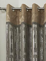jacquard luxuoso poupança forrado cortina de energia (dois painéis)